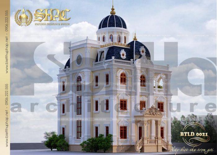 Kiến trúc uy, vững chãi của ngôi biệt thự được đánh giá điển hình xu hướng thiết kế biệt thự đẹp 2018