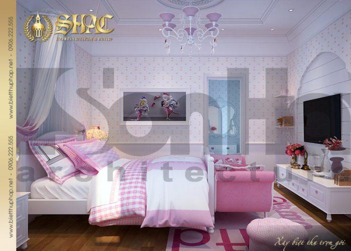 Mẫu thiết kế nội thất phòng ngủ cho con gái của gai chủ với gam màu hồng nhẹ nhà, điệu đà