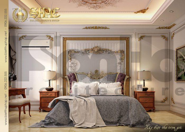 Phương án thiết kế phòng ngủ cổ điển quý phái tiện nghi của biệt thự lâu đài