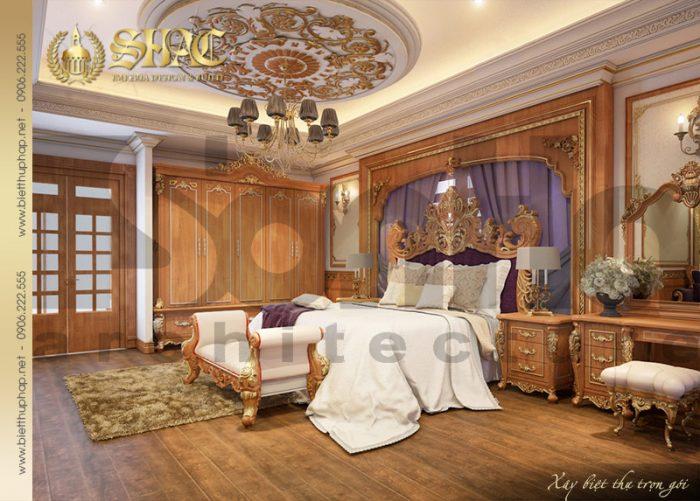 Thêm một ý tưởng thiết kế nội thất gỗ cho căn phòng ngủ biệt thự lâu đài sang trọng