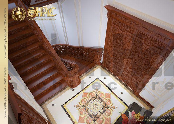 Phương án thiết kế sảnh và cầu thang của ngôi biệt thự 4 tầng phong cách lâu đài cổ điển