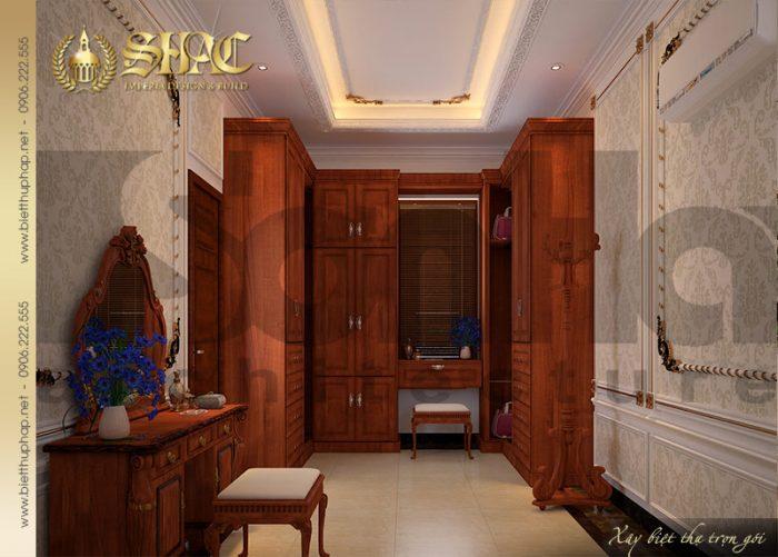 Khu vực thay đồ thiết kế đẹp trong không gian phòng ngủ biệt thự