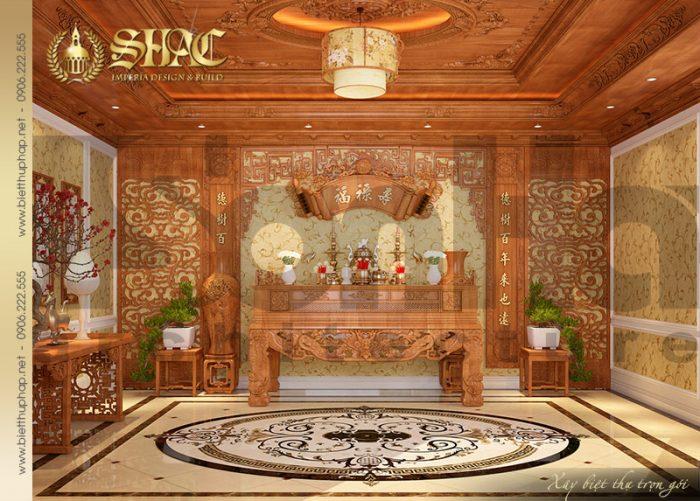 Còn đây là mẫu thiết kế nội thất phòng thờ của ngôi biệt thự