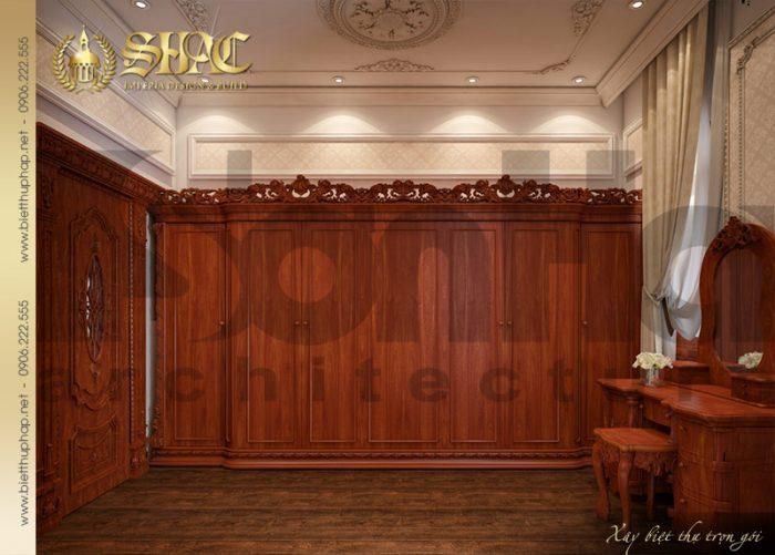Khu vực phòng thay đồ được thiết kế rộng rãi với nội thất gỗ tự nhiên