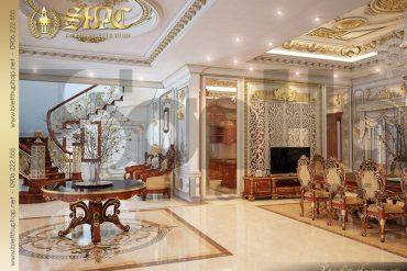 15 Thiết kế nội thất sảnh thang biệt thự lâu đài tại Quảng Ninh SH BTLD 0029