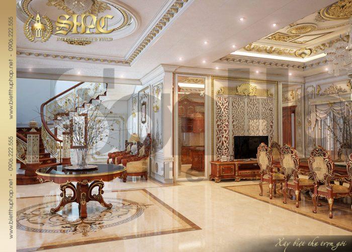 Sảnh thang tầng 1 vủa ngôi biệt thự lâu đài 3 tầng tại Quảng Ninh có thiết kế tinh tế đến từng tiểu tiết