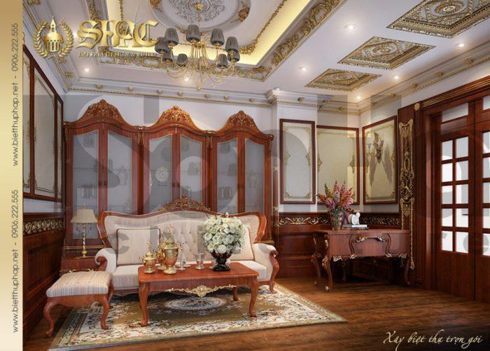 Phương án thiết kế phòng sinh hoạt chung với nội thất cổ điển của biệt thự lâu đài