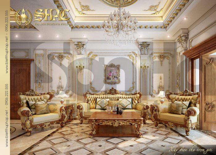 Không gian phòng sinh hoạt chung của ngôi biệt thự được thiết kế với nội thất cổ điển tuyệt đẹp