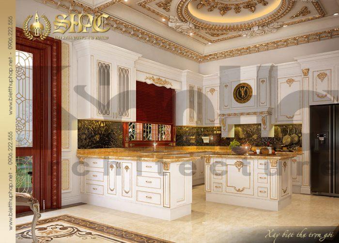 Gian phòng bếp với mẫu tủ bếp hình chữ L tiện dụng