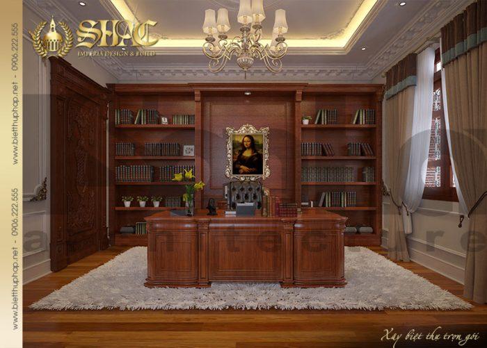 Nội thất phòng làm việc được thiết kế với nội thất cổ điển trong một không gian thoáng đãng