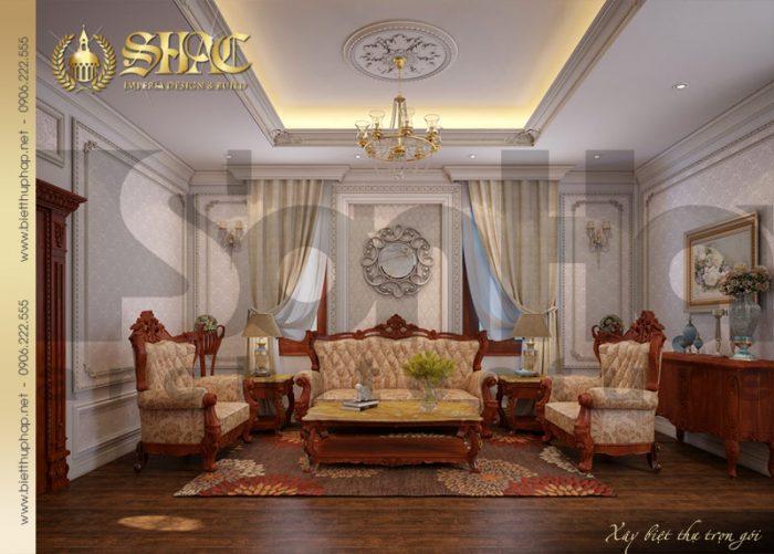 Nội thất phòng sinh hoạt chung được thiết kế với gam màu trầm tạo cảm giác ấm cúng, sum vầy cho cả gia đình