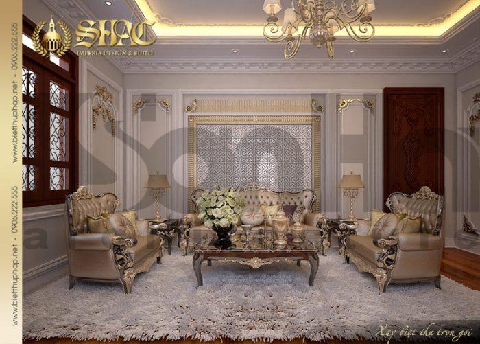 Nơi đón tiếp khách với sự đầu tư nội thất trang trọng mang phong cách vương giả