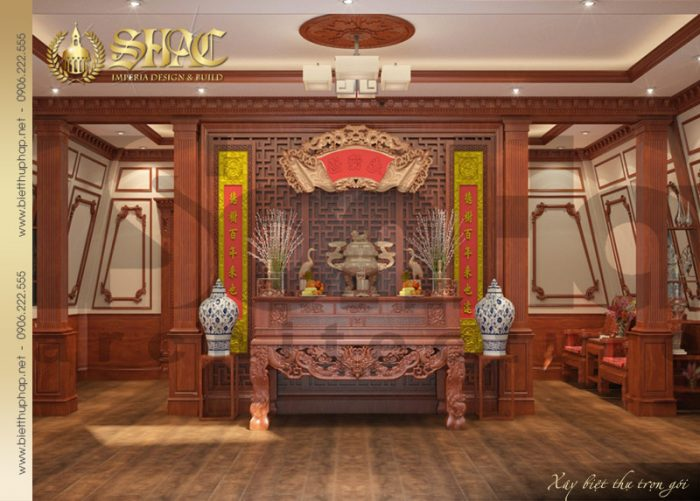 Giải pháp thiết kế nội thất phòng thờ trang nghiêm hợp phong thủy