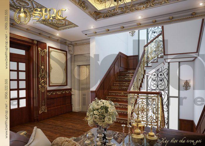 Mẫu thiết kế sảnh thanh biệt thự lâu đài kiểu pháp được chủ đầu tư đánh giá cao