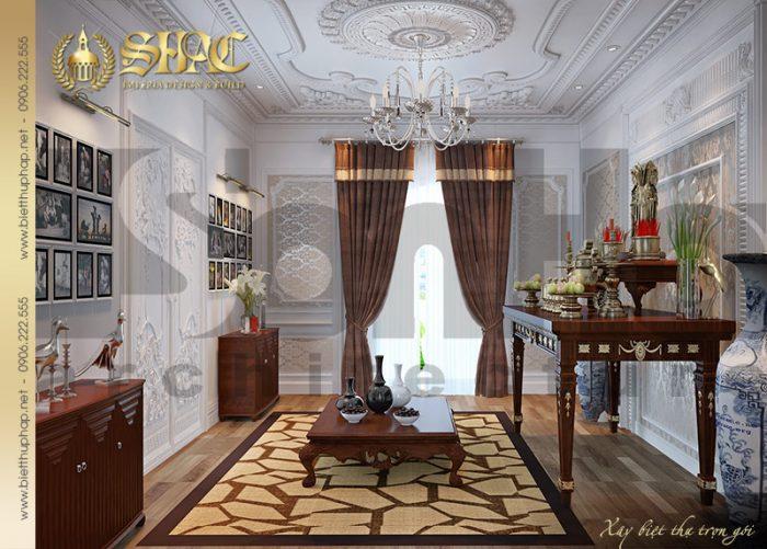 Phòng thờ là nơi tôn nghiêm nhất của ngôi nhà bởi vậy nội thất của căn phòng cũng được KTS Sơn Hà chú trọng thiết kế đẹp, hợp phong thủy nhất