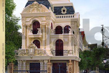 2 Kiến trúc mặt tiền biệt thự lâu đài tại Trà Vinh SH BTLD 0021