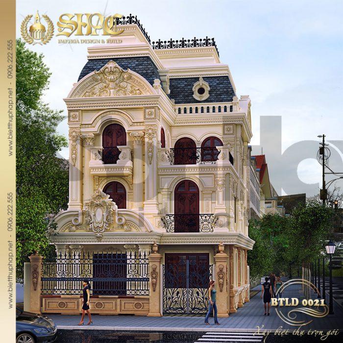 Cận cảnh kiến trúc mặt tiền ngôi biệt thự lâu đài xoa hoa bậc nhất TP.Trà Vinh – tỉnh Trà Vinh