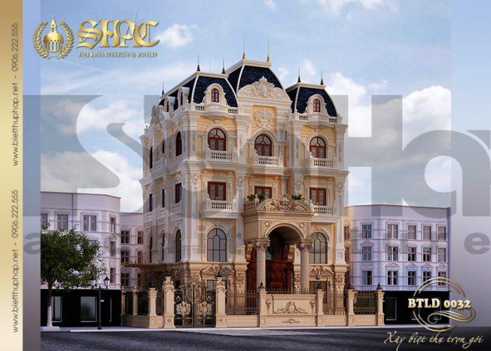 Ngôi biệt thự lâu đài sở hữu diện tích gần 300m3 mang những nét đẹp duyên dáng của phong cách hoàng gia châu Âu