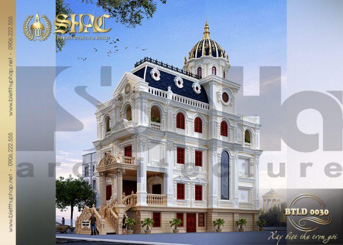 Phương án thiết kế kiến trúc biệt thự lâu đài cổ điển pháp mặt tiền 10m tại Lạng Sơn