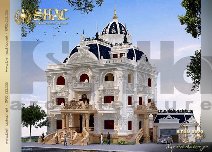 Kiến trúc ngôi biệt thự lâu đài pháp đẹp 3 tầng 1 tum mái chóp ấn tượng tại Quảng Ninh