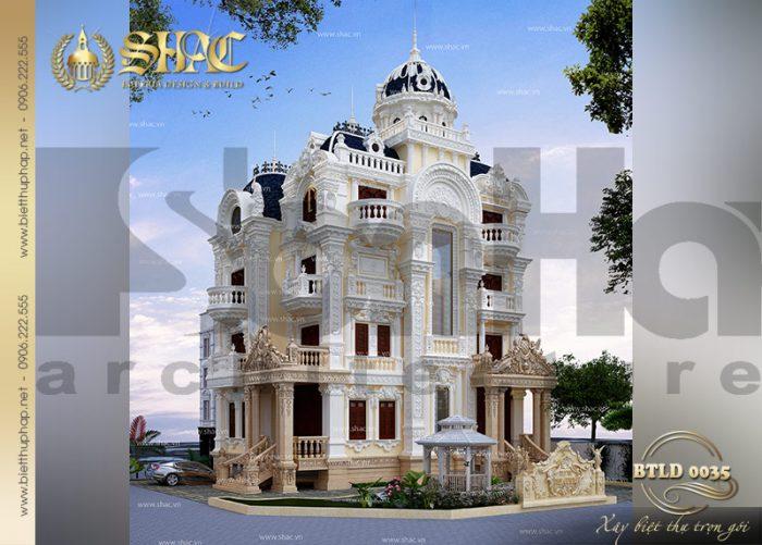 Tường đường nét kiến trúc của ngôi biệt thự đều được thiết kế tỉ mỉ
