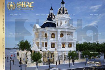 2 Mẫu thiết kế biệt thự lâu đài 3 tầng đẹp tại Nam Định SH BTLD 0023