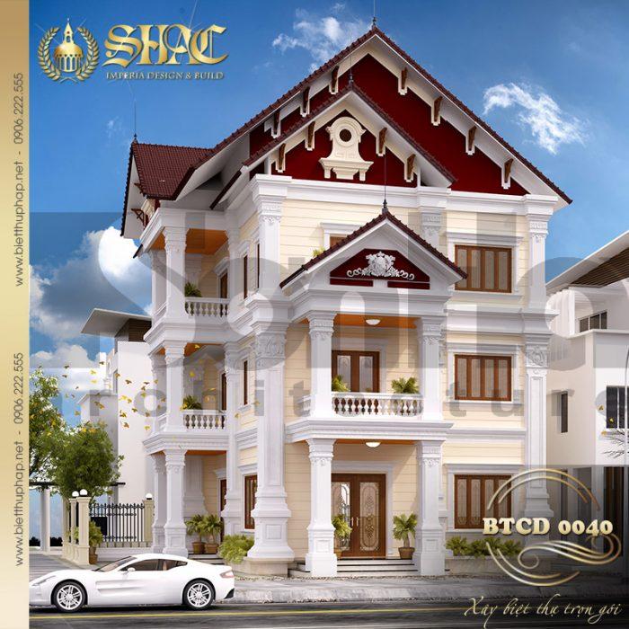 Kiến trúc ngoại thất ngôi biệt thự 2 mặt tiền quy mô 3 tầng có bể bơi tại huyện Thủy Nguyên