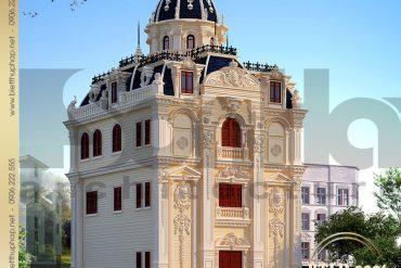 2 Mẫu thiết kế kiến trúc biệt thự lâu đài pháp đẹp 4 tầng tại Hà Nội SH BTLD 0026