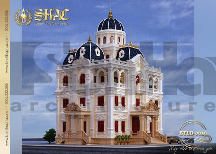Mẫu thiết kế lâu đài 4 tầng siêu sang và lộng lẫy được bố trí cảnh quan vô cùng độc đáo, từ sân vườn cho tới ngoại thất rất mãn nhãn
