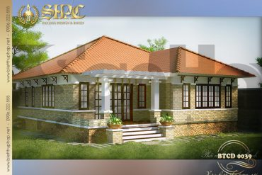 2 Thiết kế biệt thự mái thái 1 tầng tân cổ điển tại Quảng Ninh SH BTCD 0039