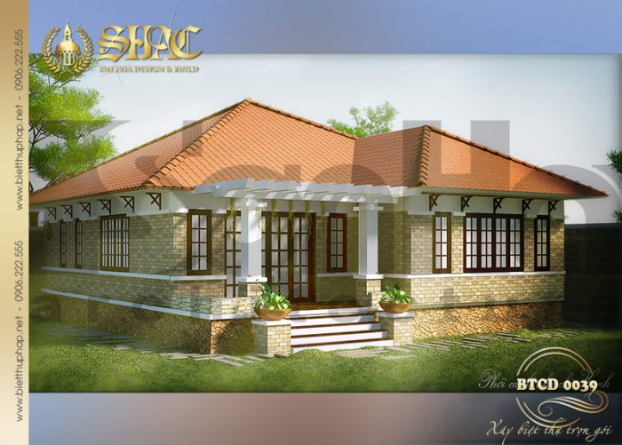 Kiến trúc ngôi biệt thự 1 tầng được thiết kế cách tân với màu sắc hài hòa và ấm cúng
