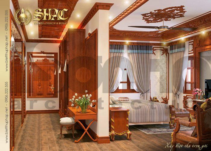 Phòng ngủ được ốp gỗ giúp điều hòa nhiệt độ đồng thời đảm bảo về thẩm mỹ