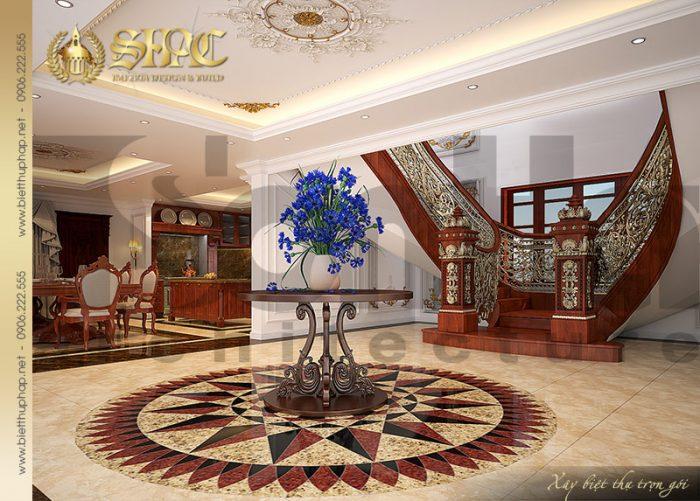 Quy mổ sảnh thang hoành tráng tại tầng 1 của ngôi biệt thự lâu đài xa hoa