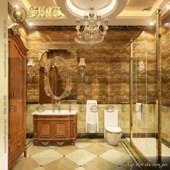 Mẫu thiết kế nội thất phòng tắm biệt thự lâu đài cổ điển 3 tầng