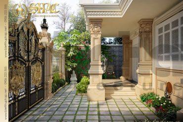 21 Thiết kế ngoại thất sân vườn biệt thự lâu đài tại Trà Vinh SH BTLD 0021