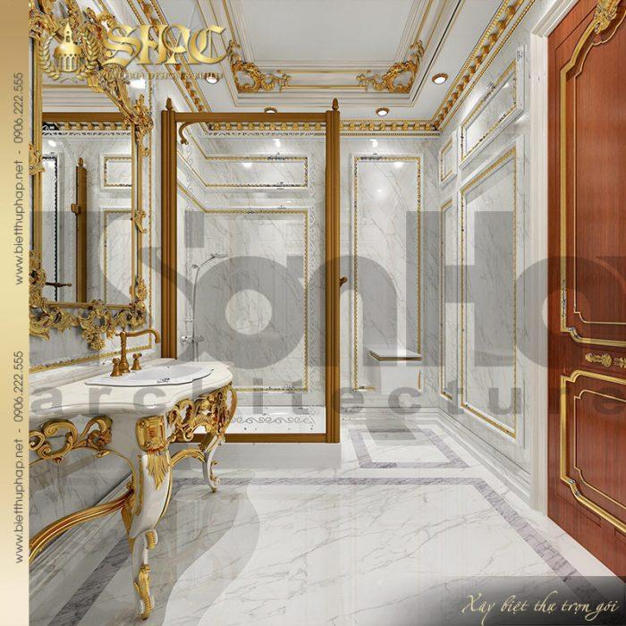 Mẫu thiết kế phòng tắm – nhà vệ sinh với nội thất cao cấp dành cho biệt thự 3 tầng tại Quảng Ninh