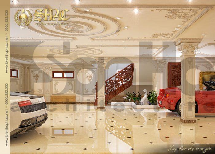 Mẫu thiết kế nội thất gara biệt thự lâu đài pháp đẹp tại Hà Nội