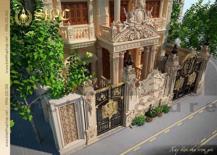 Cận cảnh từng đường nét kiến trúc mặt tiền của ngôi biệt thự có thiết kế sân vườn đẹp