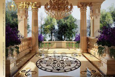 25 Thiết kế sảnh trước biệt thự lâu đài tại Quảng Ninh SH BTLD 0029