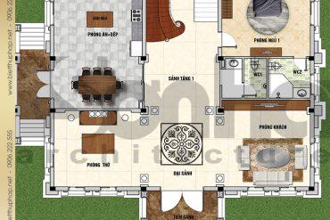 3 Bản vẽ mặt bằng công năng tầng 1 biệt thự lâu đài SH BTLD 0036 tại Hải Dương