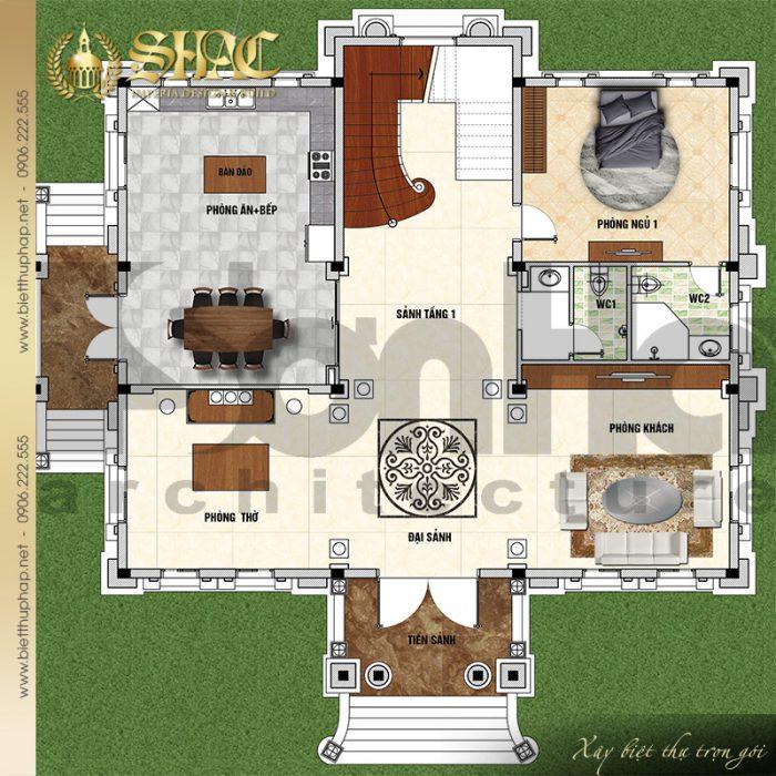 Chi tiết mặt bằng công năng tầng 1 biệt thự lâu đài cổ điển tại Hải Dương