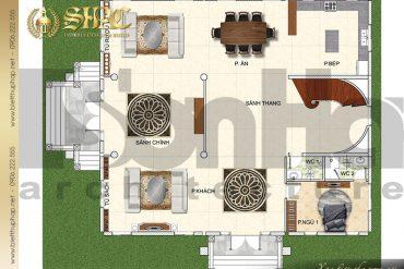 3 Bản vẽ mặt bằng công năng tầng 1 biệt thự lâu đài SH BTLD 0037 tại Hải Phòng