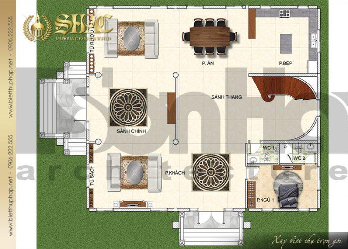 Bản vẽ mặt bằng công năng tầng 1 biệt thự cổ điển kiểu lâu đài tại Hải Phòng