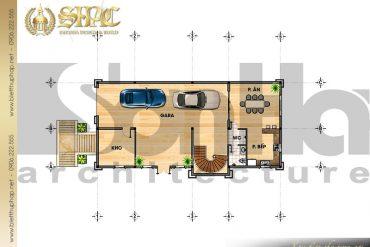 3 Mặt bằng công năng tầng 1 biệt thự lâu đài pháp đẹp tại Lạng Sơn SH BTLD 0030