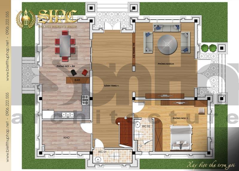 3 Mặt bằng công năng tầng 1 biệt thự pháp đẹp tại lạng sơn sh btp 0035