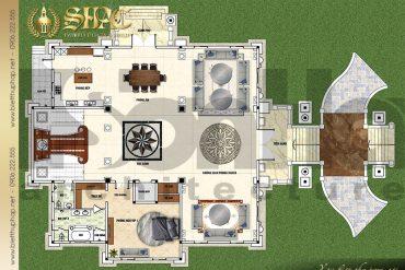 3 Mặt bằng công năng tầng trệt biệt thự lâu đài Pháp 2 mặt tiền tại Sài Gòn SH BTLD 0039