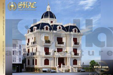 3 Mẫu thiết kế biệt thự lâu đài Pháp 5 tầng tại Nam Định SH BTLD 0026