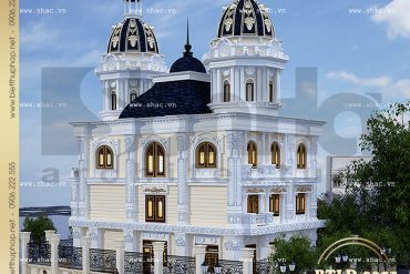 3 Mẫu thiết kế kiến trúc biệt thự lâu đài 3 tầng đẹp tại Nam Định SH BTLD 0023