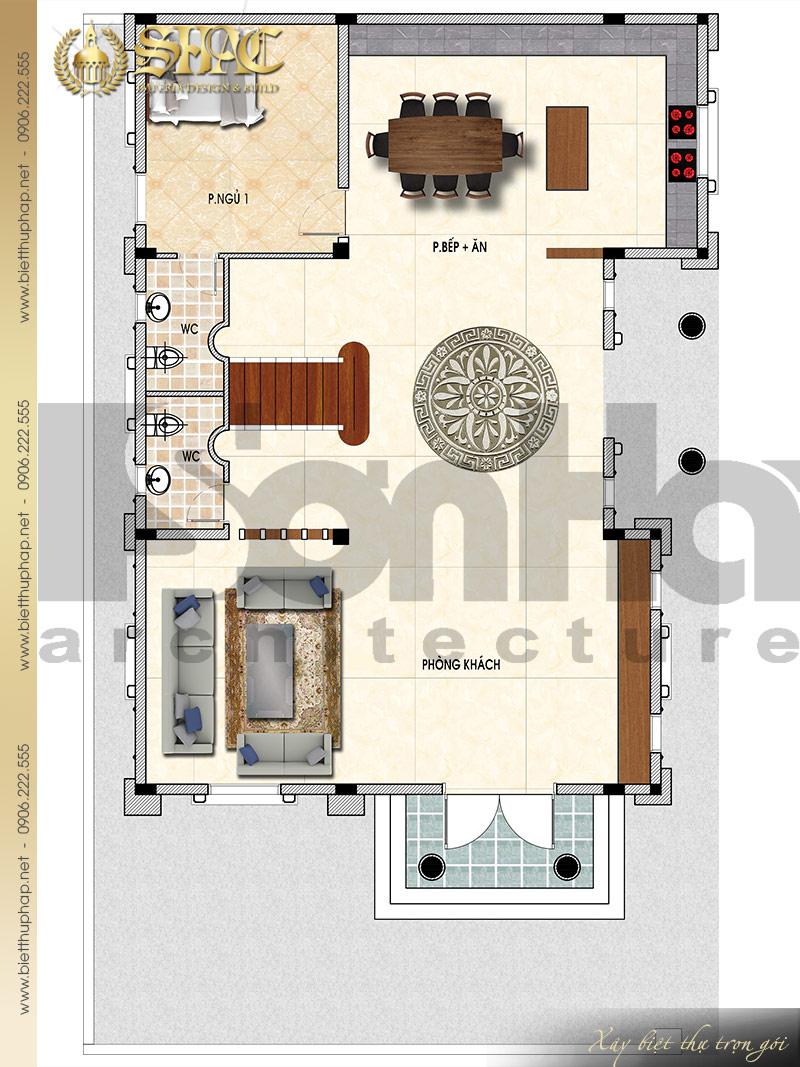 Chi tiết mặt bằng công năng tầng 1 biệt thự lâu đài kiểu cổ điển pháp tại Đà Nẵng