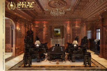 3 Mẫu thiết kế nội thất phòng khách biệt thự lâu đài tại Hà Nội SH BTLD 0026